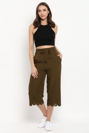 Olive Wide Leg Pants with Belt