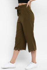 Olive Wide Leg Pants with Belt - Spotstyl