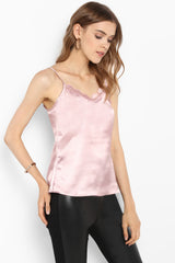 Pink Satin Lace Trim Camisole Top