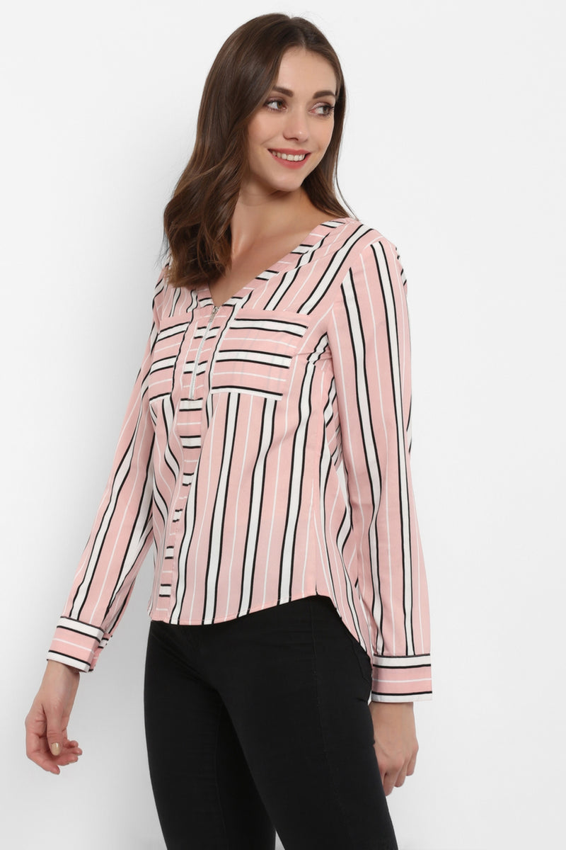Pink & White Candy Stripe Top - Spotstyl