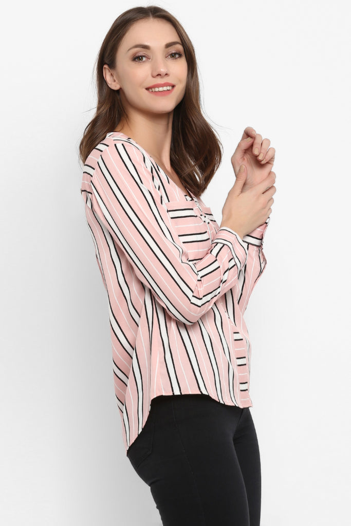 Pink & White Candy Stripe Top