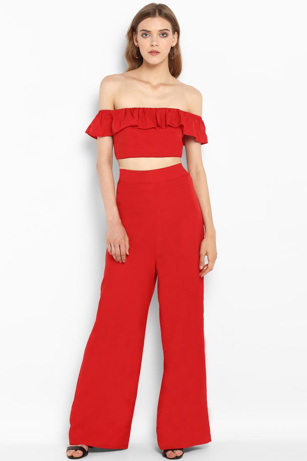 Red High Waist Wide Leg Pants - Spotstyl