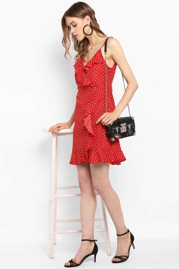 Red Polka Dot Ruffle Wrap Dress
