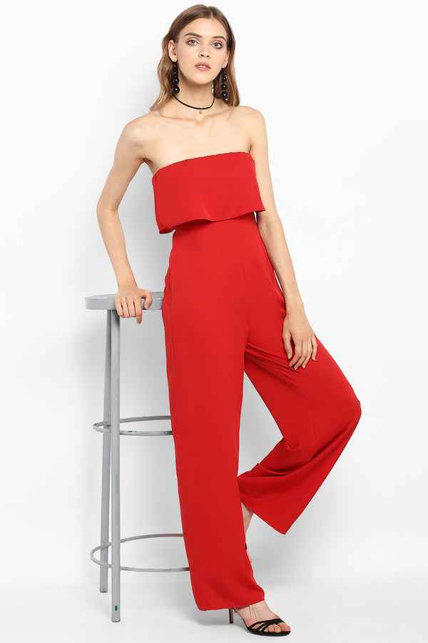 Red Strapless Ruffle Jumpsuit