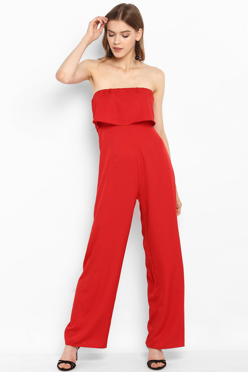 Red Strapless Ruffle Jumpsuit - Spotstyl