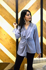 Grey Striped Satin Top - Spotstyl