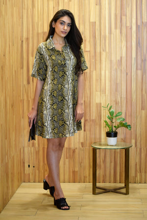 Green Animal Print Shirt Dress