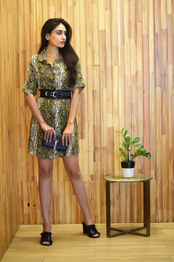 Green Animal Print Shirt Dress - Spotstyl