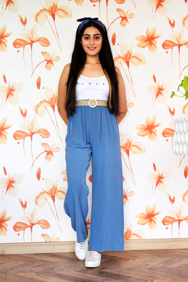 Blue High Waisted Pants with belt - Spotstyl