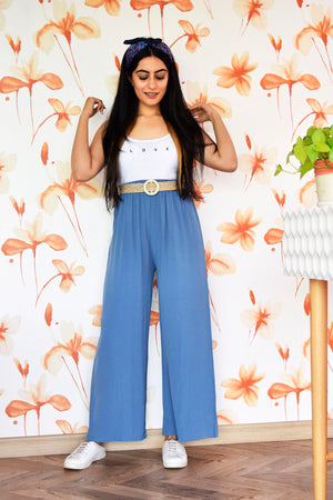 Blue High Waisted Pants with belt