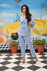 Blue & White Striped Co-Ord Set - Spotstyl