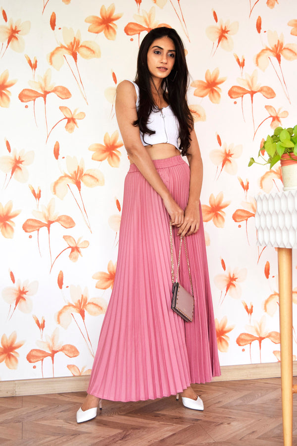 Pink Pleated Flared Pants