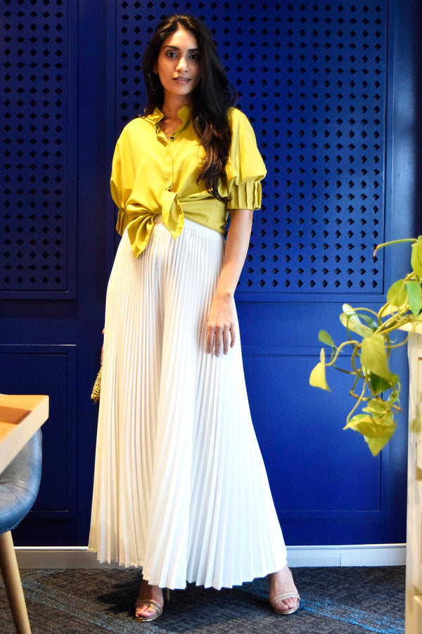 White pleated flared pants - Spotstyl