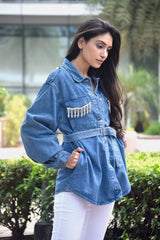 Denim Shirt with Crystal Eye Detail and Belt - Spotstyl