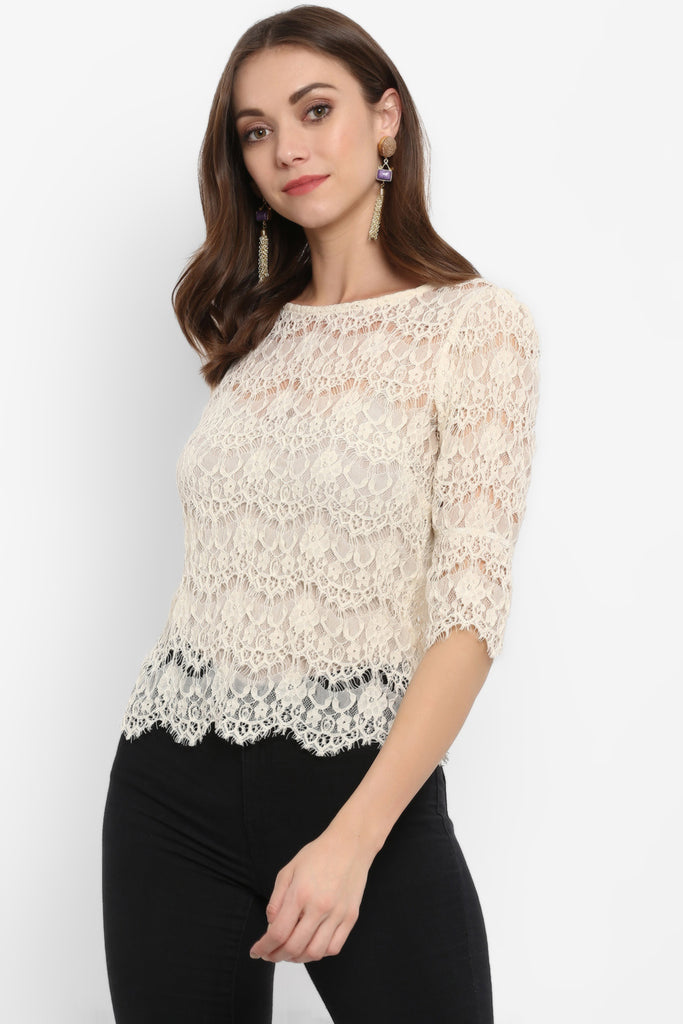 Scalloped Lace Bell Sleeves Top