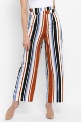 Striped Paperbag Waist Wide Leg Pants - Spotstyl