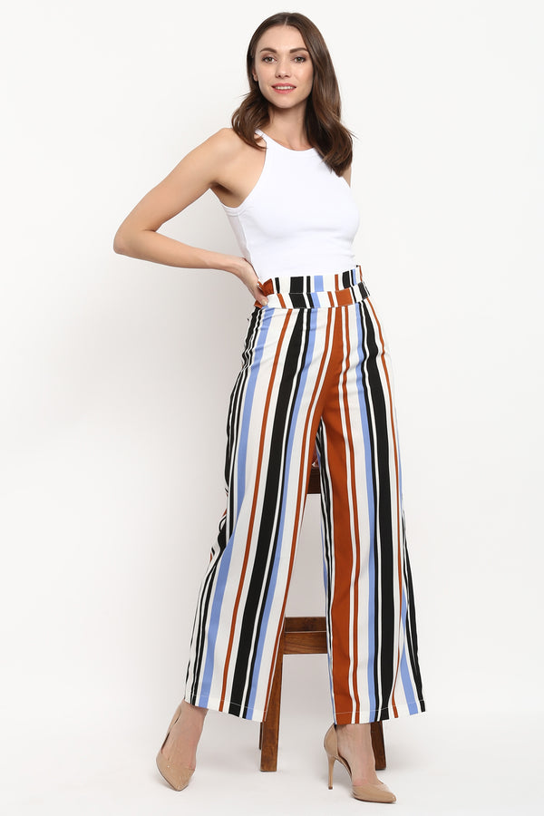 Striped Paperbag Waist Wide Leg Pants
