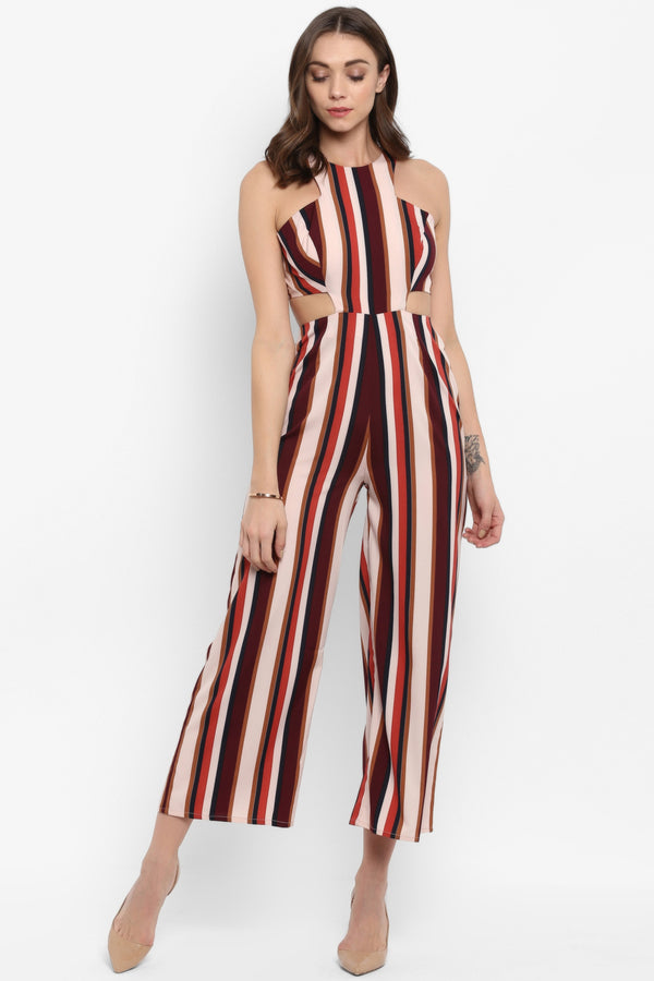 Tan Stripe Waist Cutout Jumpsuit