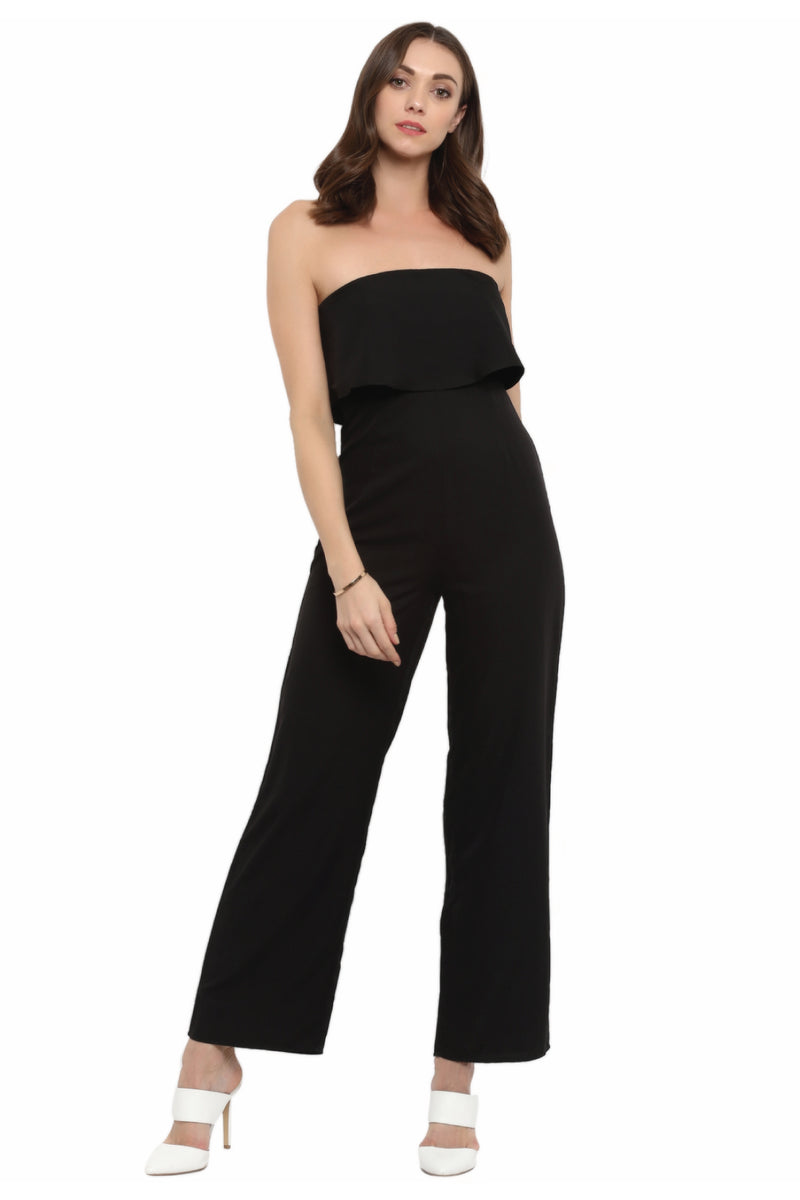 Black Strapless Ruffle Jumpsuit