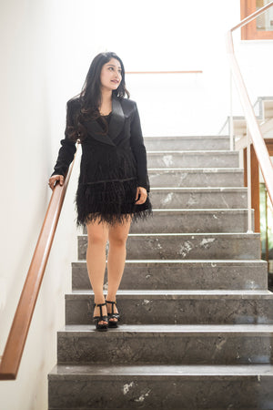 Black Tuxedo Feather Dress