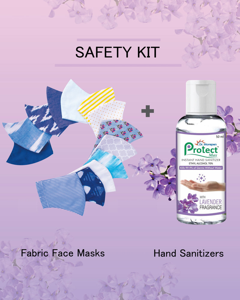 Safety Kit - Fabric Masks + Dr. Morepen Protect Hand Sanitizers - Spotstyl