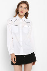 White Button-Down Shirt with Black Contrast Detail
