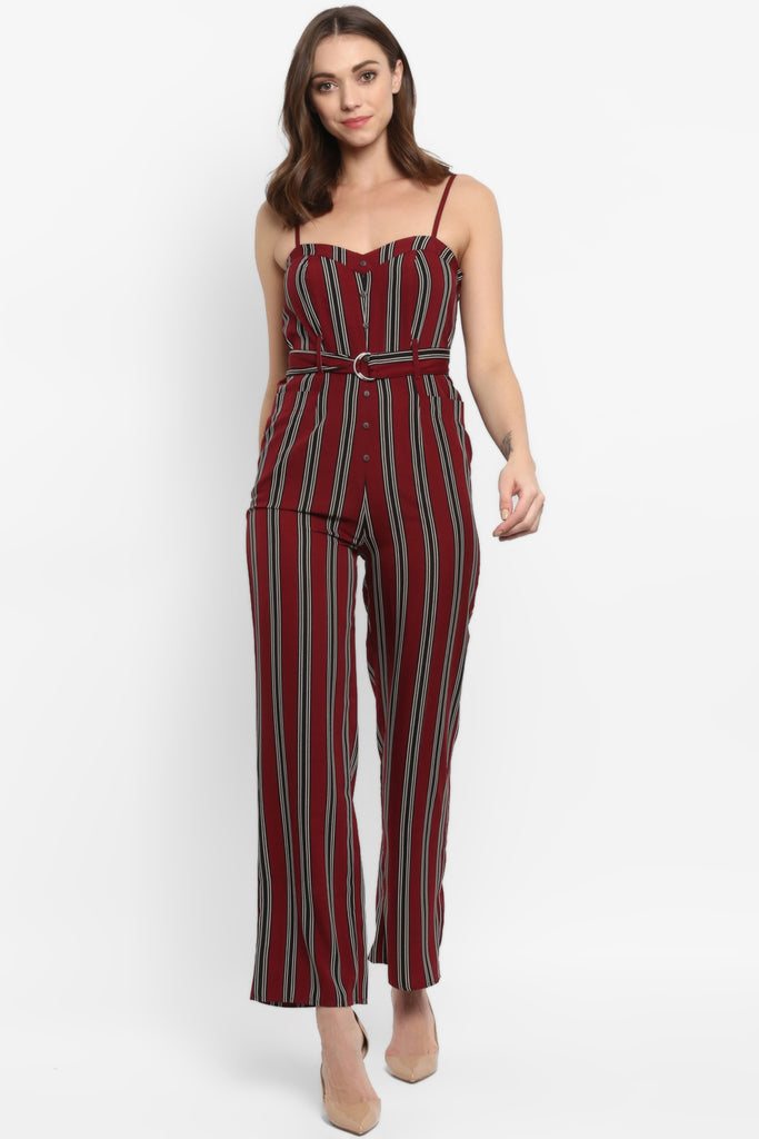 Wine & Black Stripe Belted Jumpsuit