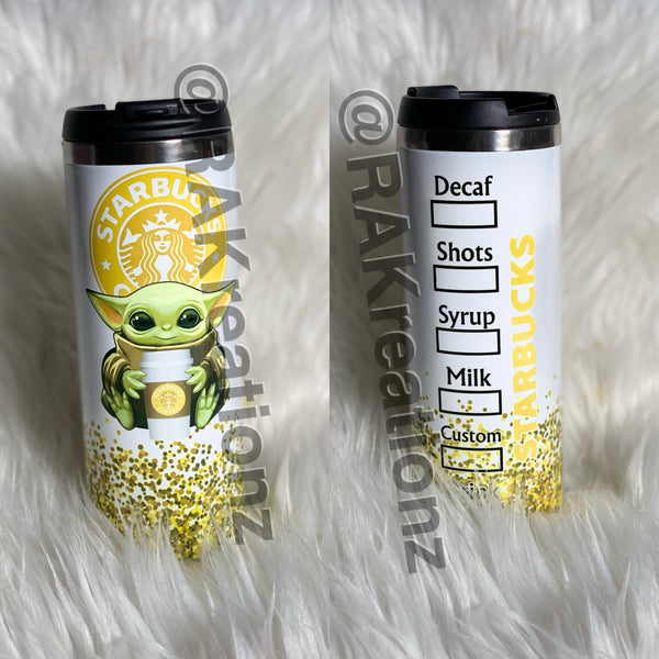 Yellow Starbucks Baby YODA tumbler