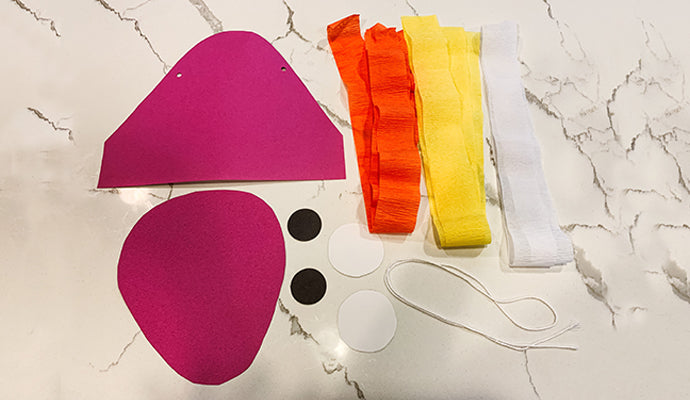 crepe paper of various colors and multicolored construction paper
