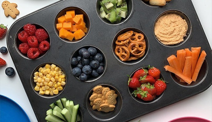 Tray full of yummy food for little fingers