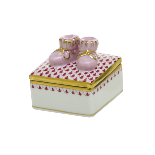 Hand-Painted Porcelain Baby Bootie Keepsake Box