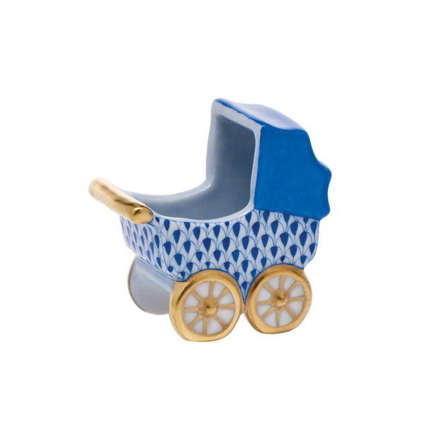 Hand-Painted Baby's Carriage Porcelain Keepsake Figurine