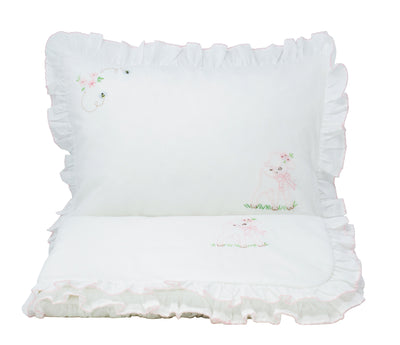 Hand-Embroidered Nursery Lamb & Bee Quilted Blanket and Pillow Sham