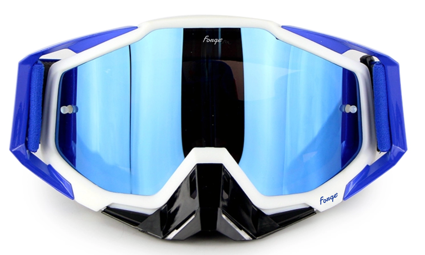 Forge New Zealand Blue and White Motocross and Mountain Bike Goggles