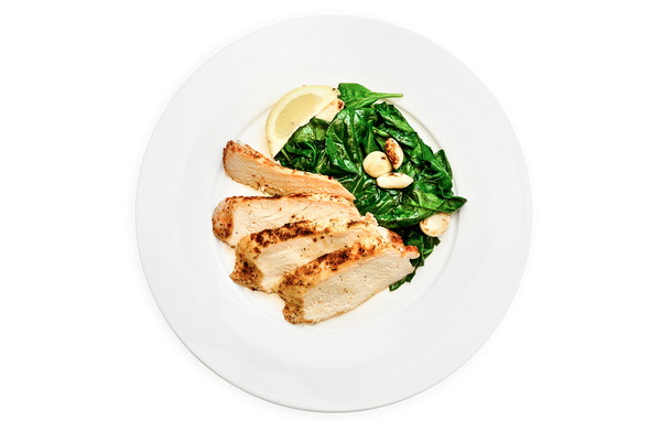 Grilled Chicken & Garlic Spinach