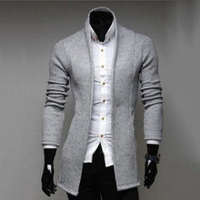 Load image into Gallery viewer, Mens Vintage Blazer Coats Knitted Mandarin Collar Business Dress Blazers Casual Jackets Male S-lim Fits Suit Jacket платье пиджа