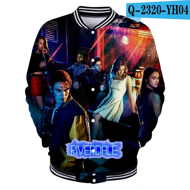 LUCKYFRIDAY 3D Print Riverdale sweatshirt Long Sleeve Baseball Jacket Men Clothes 2018 Hip Hop Kpop Harajuku Tops Streetwear