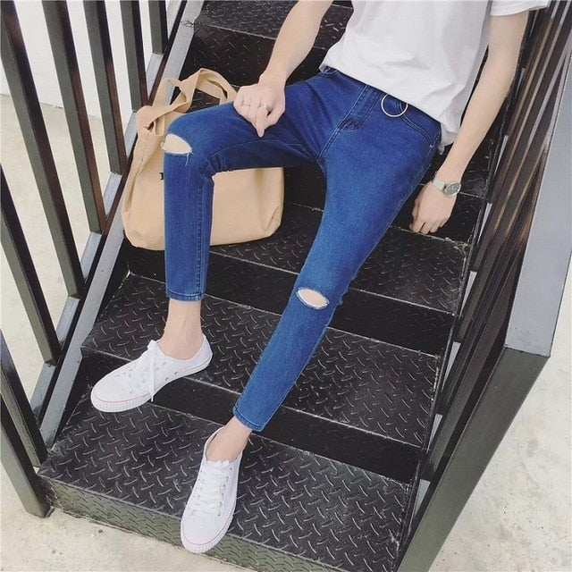 Korean Boys'Fashion Jeans Men's Slim, Small Feet, Nine Hundreds of Fall and Winter Men's Trousers Black Hole Jeans
