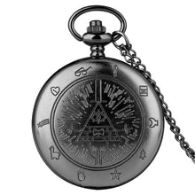 Load image into Gallery viewer, Eye of Providence Weird Town Triangle Devil Quartz Pocket Watch Gravity Bill Cipher Fall Time Gem Necklace Pendant Clock Gifts