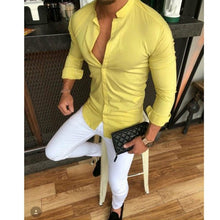 Load image into Gallery viewer, 2019 Hot Men's Slim V Neck Long Sleeve Muscle Solid Shirt Casual Shirts Tops Blouse Men Fit Buttons Shirt Drop Shipping