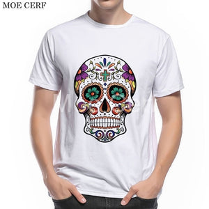 MOE CERF Summer New Fashion T-shirt Men Funny Shoes Skull Designer Cool Boy Tees Summer Casual Short Sleeve Brand Tops L9-E-35