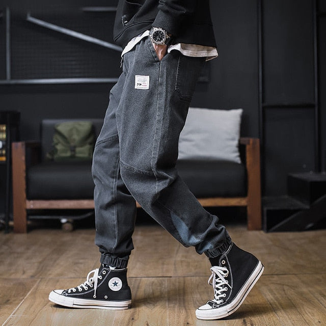 Plus size Jeans Men Hip hop StreetWear Joggers Ankle Length Denim Cargo Pants Loose Pocket Harem Trousers Sweatpants