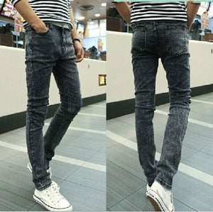 Men Elastic Force Jeans Man Self-cultivation Bound Feet Leisure Directly Cuffless Trousers Male Trend Black Dirt Proof Jeans