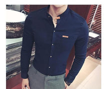 Load image into Gallery viewer, Men's Shirt Autumn Casual Stand Collar Long Sleeve Button Cotton Shirt Slim Fit Casual Comfortable Men's Top Men Clothing XXXXXL