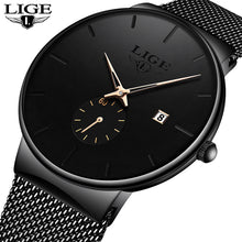 Load image into Gallery viewer, LIGE 2020 Fashion Mens Watches Top Brand Luxury Quartz Watch Men Casual Slim Mesh Steel Waterproof Sport Watch Relogio Masculino