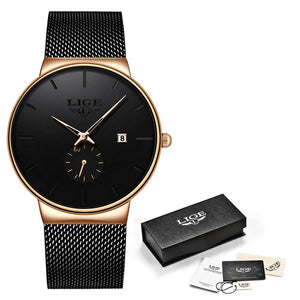 LIGE 2020 Fashion Mens Watches Top Brand Luxury Quartz Watch Men Casual Slim Mesh Steel Waterproof Sport Watch Relogio Masculino