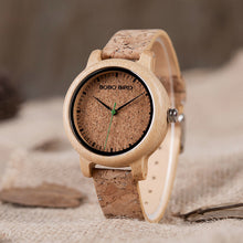 Load image into Gallery viewer, BOBO BIRD Lovers Watches Wooden Timepieces Handmade Cork Strap Bamboo Women Watch Luxury in Box Accept Logo Drop Shipping