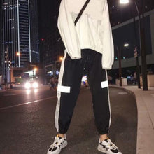Load image into Gallery viewer, Men Reflective Side Stripe Waist Drawstring Hip Hop Beam Pants Sports Trousers