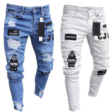 Load image into Gallery viewer, Mens Cool Designer Brand Black Jeans Skinny Ripped Destroyed Stretch Slim Fit Hop Hop Pants With Holes For Men