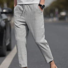 Load image into Gallery viewer, 2019 New Trendy Plus Size Pants Men Plaid Drawstring Pocket Elastic Waist Pencil Trousers  Casual Harem Pants Men Trousers